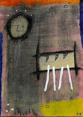 post-life crisis e9Art ACEO Outsider Abstract Art Painting Brut Expressionism