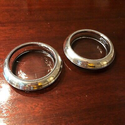 Set of 2 VINTAGE FRANK M. WHITING STERLING SILVER & CRYSTAL COASTERS/ASTRAYS