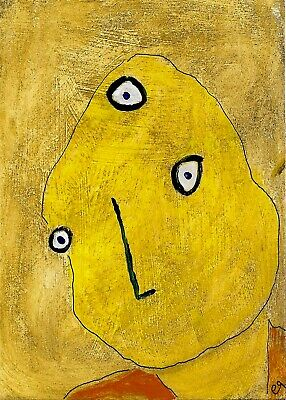 three eyes blind e9Art ACEO Outsider Folk Art Brut Painting Expressionism Naive
