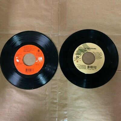 """2 BRYAN ADAMS Vinyl Record 45 RPM 7"""" Lot- EVERYTHING I DO I DO IT FOR YOU STAR"""