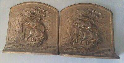 Vintage Nautical Bookends Bronzed Cast Iron Ships Billowing Sails 1920'S