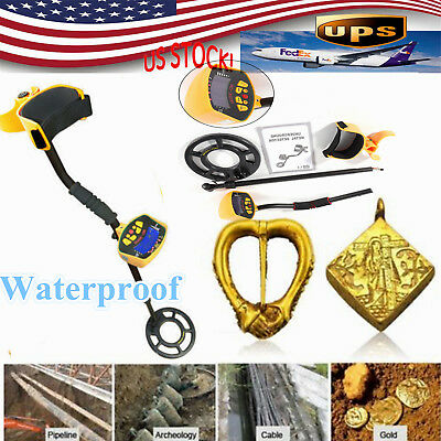 Waterproof LCD Metal Detector MD-3010II Deep Sensitive Gold Digger Hunter w/ Coi