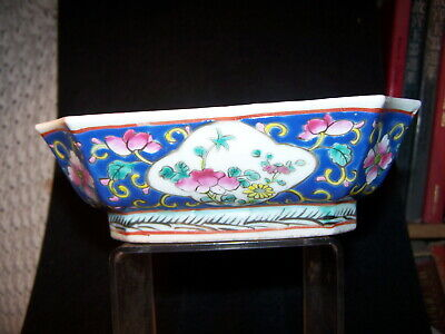 Antique Chinese Famille Rose Bonsai Tree Planter Bowl turquoise inside