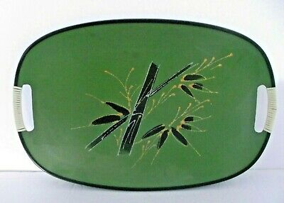 Vintage Tilso Tray Green Bambo Floral Design Japan Mid-Century Modern Retro Rare