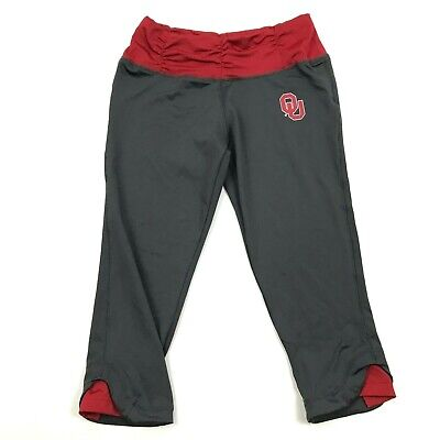 Knights Womens OU SOONERS Capri Leggings Size S Ruched Fitted Pull On OKLAHOMA