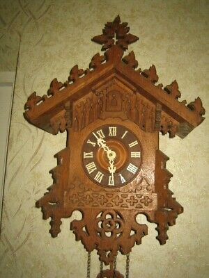 Antique German Black Forest Gothic Style  Cuckoo Clock