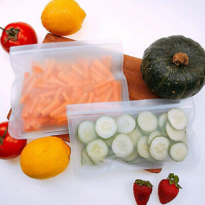 Reusable Food Storage Silicone Bags Leak-Proof Fresh Ziplock Produce Bags S,M,L