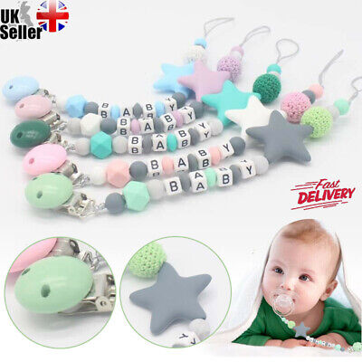 Pacifier Clips Dummy Holders Pacifier Teething Baby Teether Clip Chain Bead Gift