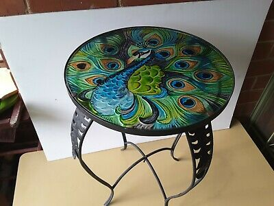 Round Glass Top PEACOCK DESIGN Table With Metal Base