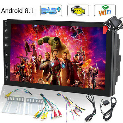 """Android 8.1 Car Stereo AM FM RDS Radio Double DIN 7"""" NO DVD Player GPS Wifi+CCD"""