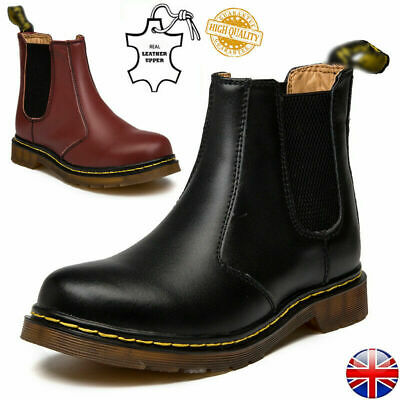 Womens Mens Chelsea Boots Mens Classic Real Leather Ankle Bootie Fur Shoes UK