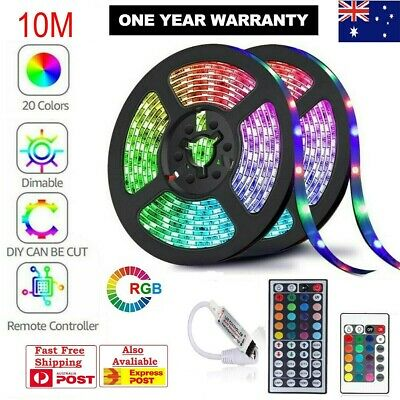 5M 10M 3528 5050 RGB LED Strip Light Multi Colored Activated Remote 12V Strips
