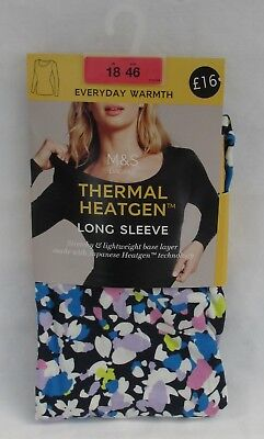 Ladies Marks & Spencer Multi Floral Thermal Long Sleeve Heatgen T-Shirt Size 18