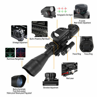 Pinty 3 in 1 4-12X50EG Rangefinder Reticle Rifle Scope Laser 20mm Rail Dot Sight