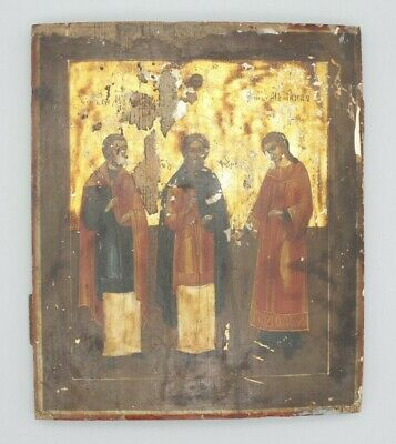 BIG Antique 19c Russian Wood Hand Painted Gold Plated Icon Kholui 35x29cm