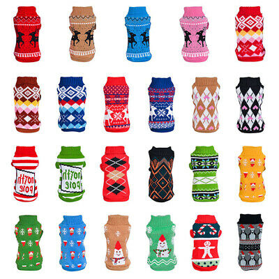 Pet Dog Christmas Winter Sweater Coat Clothes Cat Jumper Vest Chihuahua Knitwear