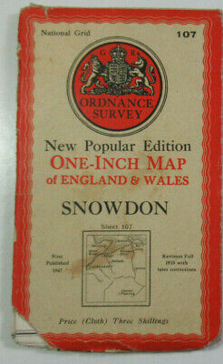 1947 Old OS Ordnance Survey One-Inch New Popular Edition CLOTH Map 107 Snowdon