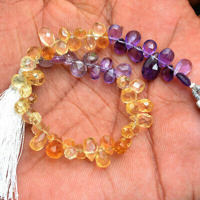 50 Ct/57 Pcs Natural Citrine & Amethyst Untreated Checker Cut Drilled Pear Drops