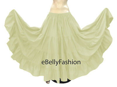 Cotton 4 Tier 6 Yard Skirt Maxi Belly Dance Gypsy Flamenco Tribal Jupe Olive