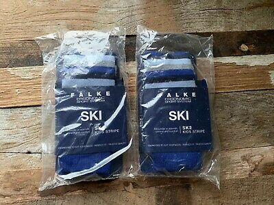 2 x Pairs Kids Falke Ski Socks SK2 Size UK 9 - 11.5 EU 27 - 30 Blue Stripe