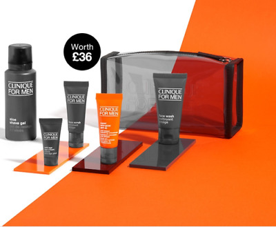 CLINIQUE FOR MEN 6 Piece Travel Kit Gift Set Including Travel Bag - Brand New