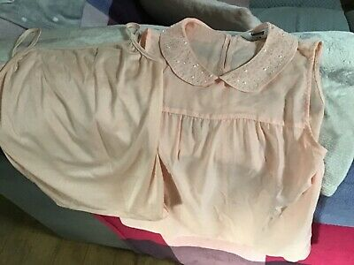 Girls pretty 2 piece shirt blouse Age 14 by Tammy with pearl jewel bead neckline