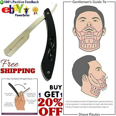 Straight Edge Razor Shaving Blade Barber Shaver Mens Professional
