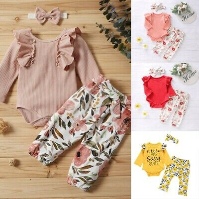 Kids Toddler Baby Girl Letter Romper+Floral Sassy Pants+Hairband Outfits Set UK