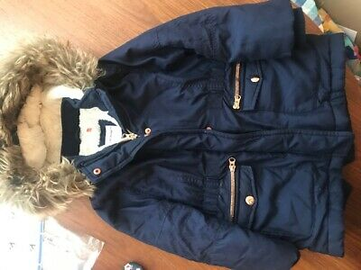Cute JOHN LEWIS girls age 4 years Navy quilted hooded felled lined Winter coat