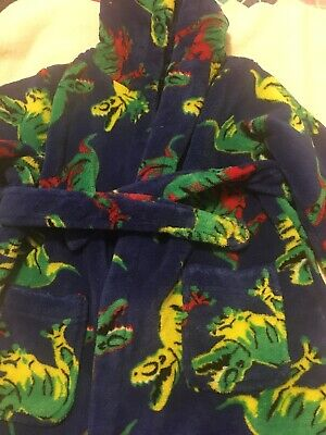 Boys Dressing Gown Age 18-24 Months Bluezoo With Dinosaurs