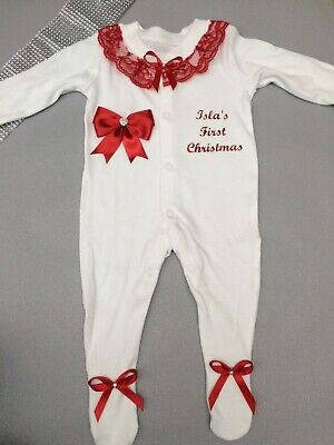Personalised Baby's First Christmas Frilly Sleepsuit / Babygrow with Bows