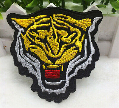 Wild animal Tiger head Embroidered Cloth Iron On Patch Sew Motif Applique badge