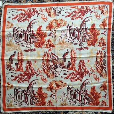 Vintage 1940's/50's silk scarf, painterly scenes, ivory, orange, handrolled hems