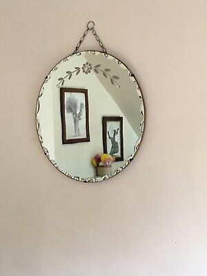 Frameless Round Art Deco Bevelled/Scalloped edged mirror with etched flowers