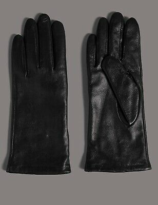 NWT MARKS & SPENCER M&S Autograph black cashmere lined leather gloves size L