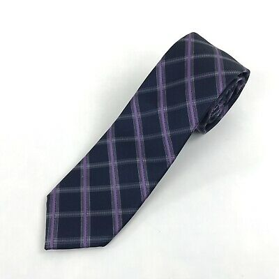 Michael Kors Silk Necktie Navy Blue Purple Striped Classic Style Neck Tie