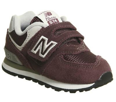 Kids New Balance Burgundy Leather Hook and Loop fastener Trainers Size UK 5 Infa