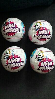 Four (4) 5 Surprise Mini Brands Collectible Toy Balls By Zuru