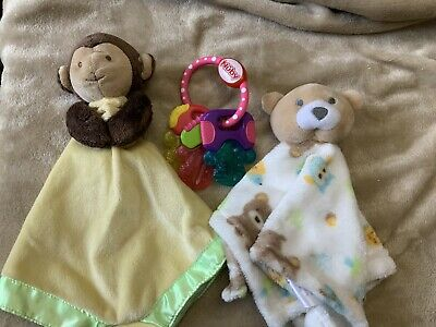 Stocking Stuffers Lot 2 Loveys 1 Teething Ring Baby Boy Or Girl Security Gifts