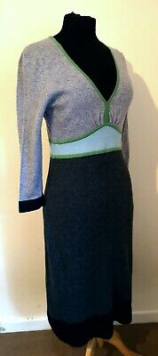 Immaculate Boden Cashmere mix Colourblock knitted dress 10 R
