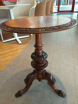 Antique round WINE occasional side WALNUT INLAID Victorian circular tripod table