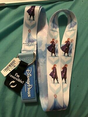 Disney Parks 2019 Frozen 2 Reversible Anna and Elsa Snow Holiday Lanyard