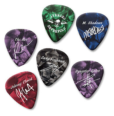 Avenged Sevenfold printed Guitar Pick Plectrums Gold print or white or Black