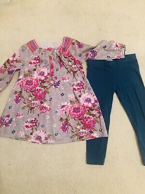 Monsoon Baby Girl Outfit Age 3 Tunic Leggings  Dress Floral Beaded RRP£32 Age 2