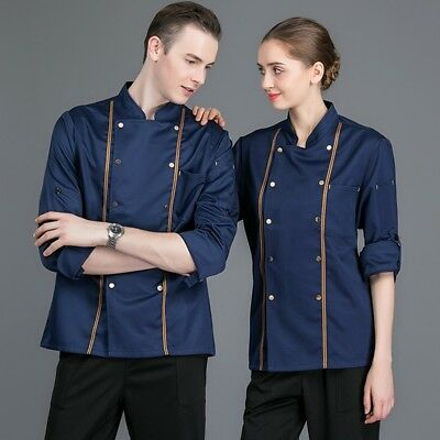 Men Women Chefs Jacket Double-Breasted With Pen Pockets Kitchen Workwear Uniform