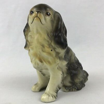 English Spaniel Dog Porcelain VTG Black Springer