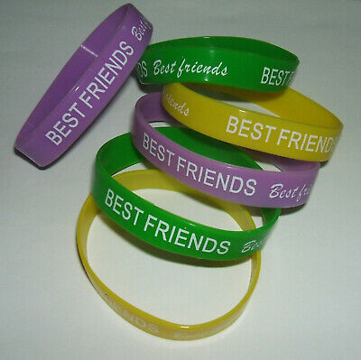 JOB LOT (B) - 12mm WRISTBANDS, BEST FRIENDS, GREEN, YELLOW, PURPLE (pack of 6)