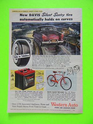 1955 Western Auto Flyer Bicycle, Battery And Car Tires ~ Sales Art Ad