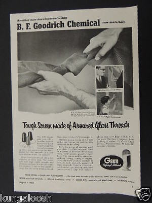 1953 B.f. Goodrich Chemical-Tough Screen Made Of Armored Glass Thread Vintage Ad