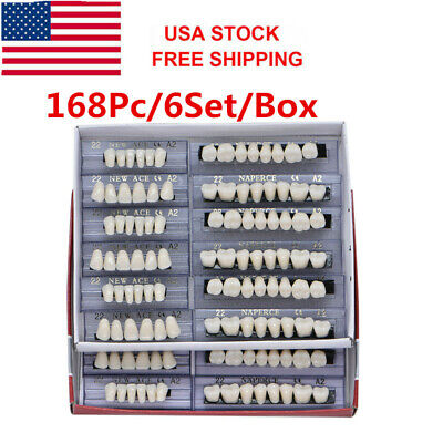 US168pc Acrylic Resin Teeth Dental Denture Size 22# A2 Shade FullSet Upper Lower